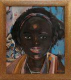 Portret dziewczyny na turkusowym tle