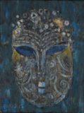 Maska na niebieskim tle