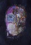 Różowa głowa na czarnym tle