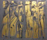 Postaci złote na grafitowym  tle